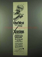 1925 Santa Fe Railroad Ad - Come On Out West