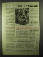 1925 Metropolitan Life Insurance Ad - Stamp Out Typhoid