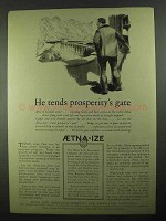 1925 Aetna Life Insurance Ad - Tends Prosperity's Gate
