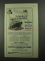 1925 United American Lines Ad - World Cruises