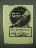 1925 Boston Garter Ad - Quality First