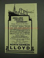 1925 North German Lloyd Cruise Ad - England France