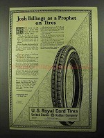 1922 U.S. Royal Cord Tires Ad - Josh Billings Prophet