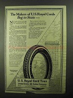 1922 U.S. Royal Cord Tires Ad - Beg to State
