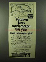 1922 Burlington Route Railroad Ad - Fares Cheaper