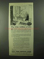 1922 New York Central Ad - The City Within a City