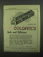 1922 Colgate's Toothpaste Ad - Colgate's Safe and Efficient