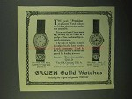 1922 Gruen X61 and X62 Watches Ad