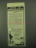 1922 Minnesota Tourism Ad - Land of the Sky Blue Waters