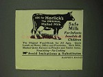 1922 Horlick's Malted Milk Ad - Safe Milk for Infants