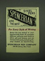 1922 Spencerian Steel Pens Ad - Every Style of Writing