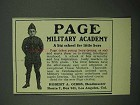 1922 Page Military Academy Ad - Big School Little Boys
