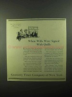 1921 Guaranty Trust Company of New York Ad - Wills