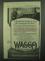 1921 WASCO Garage Heating System Ad - Pneumonia