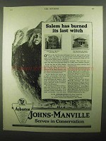 1920 Johns-Manville Asbestos Roofing Ad - Salem Witch