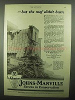 1920 Johns-Manville Asbestos Roofing Ad - Didn't Burn