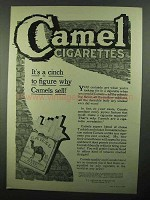 1920 Camel Cigarettes Ad - It's A Cinch To Figure Why