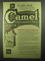 1920 Camel Cigarettes Ad - In Other Words