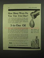1920 3-in-One Oil Ad - How Many Ways Do You Use?