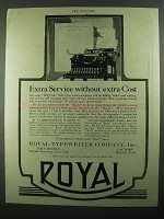 1918 Royal Typewriter Ad - Extra Service Without Cost