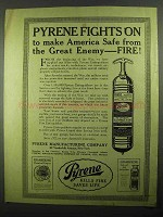 1918 Pyrene Fire Extinguisher Ad - Fights On