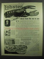 1918 Frank E. Davis Lobster Ad - Direct From the Sea