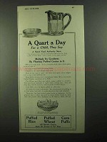 1918 Quaker Oats Puffed Grains Ad - A Quart a Day