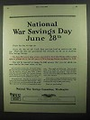 1918 National War Savings Committee Ad - June 28th