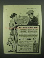 1918 3-in-One Oil Ad - My, What Shiny Clubs!