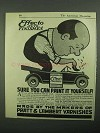 1918 Pratt & Lambert Effecto Auto Finishes Ad - Paint it Yourself