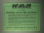 1918 Horlick's Malted Milk Ad - Nourishing Yet Light