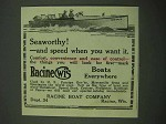 1918 Racine Boats Ad - Seaworthy and Speed