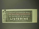 1916 Listerine Antiseptic Ad - Throat Irritation