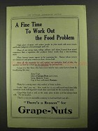 1915 Grape-Nuts Cereal Ad - Work Out Food Problem