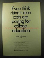 1970 College Tuition Ad - Rising Costs Paying for