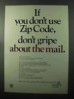 1970 Zip Code Ad - Don't Gripe About the Mail