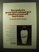 1970 Tabac Original Cologne Ad - The Mark Of