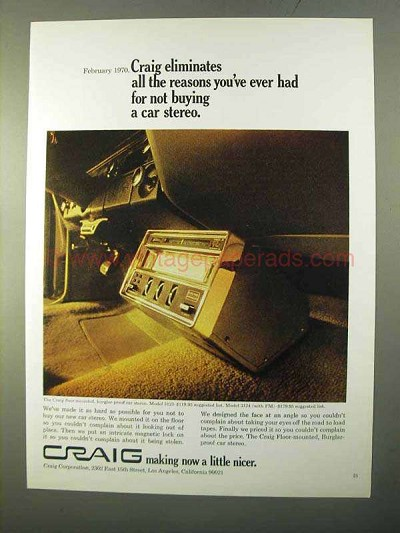 1970 Craig Floor-Mounted Car Stereo Ad - 3123