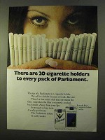 1970 Parliament Cigarettes Ad - 20 Cigarette Holders