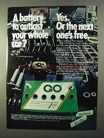 1970 Exide GO Battery Ad - Outlast Your Whole Car