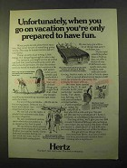 1970 Hertz Rent-a-Car Ad - Only Prepared to Have Fun