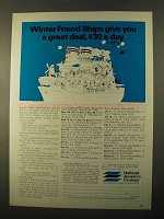 1970 Holland America Cruises Ad - Winter Friend Ships