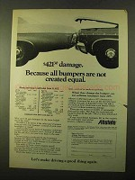 1970 Allstate Insurance Ad - Bumpers Not Equal