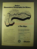 1970 Alitalia Airline Ad - Geography for Skiers