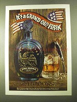 1970 Ezra Brooks Bourbon Ad - It's a Grand Old Flask