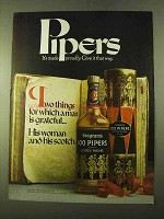 1970 Seagram's 100 Pipers Scotch Ad - Man is Grateful