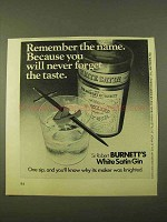 1970 Burnett's White Satin Gin Ad - Remember the Name