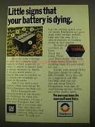 1970 Delco Energizer Batteries Ad - Little Signs