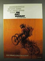1971 On Any Sunday Movie Ad - Motorcycle Sport