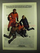 1971 JCPenney Snowmobile Suits Ad - Wind and Wet